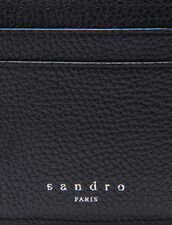 Grained leather card holder : All Winter collection color Black