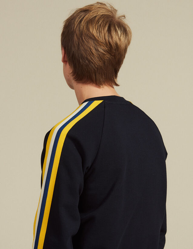 Cotton Sweatshirt With Braid Trims : Sweatshirts color Navy Blue