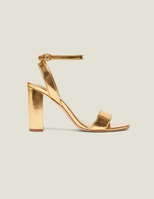 Heeled Sandals In Metallic Leather : LastChance-FR-FSelection color Gold