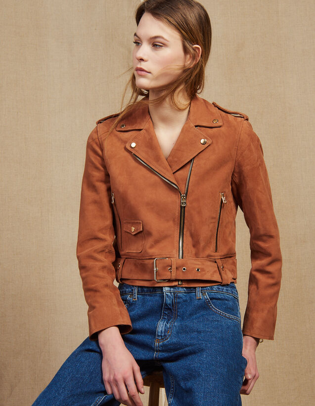 Suede Perfecto Jacket : Blazers & Jackets color Terracotta