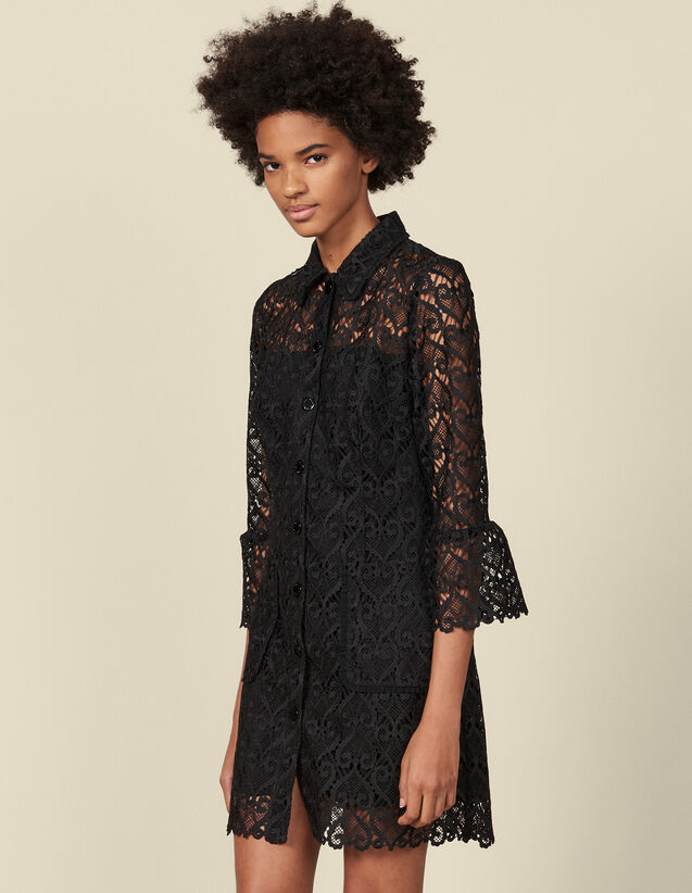 Robe manteau en guipure : Robes couleur Noir