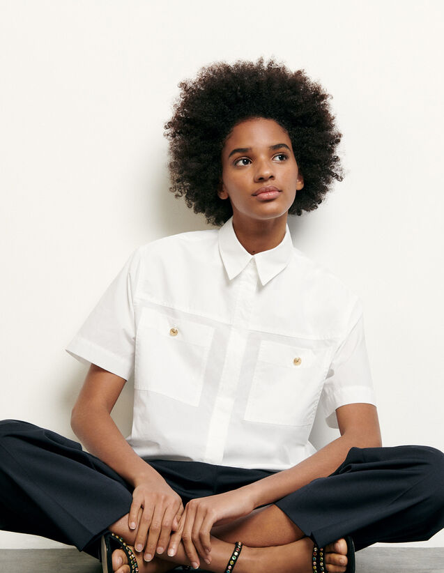 Cropped shirt with patch pockets : New Summer Collection color Optical White