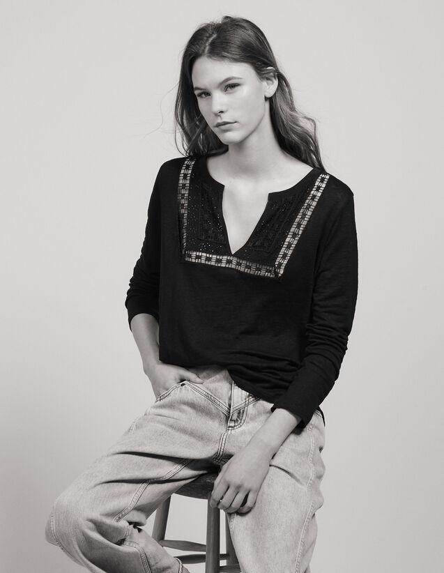 Linen T-Shirt With Grandad Neckline : LastChance-FR-FSelection color Black