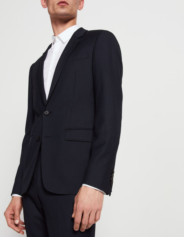 Slim fit jacket in flecked super 120's : All Selection color Blue