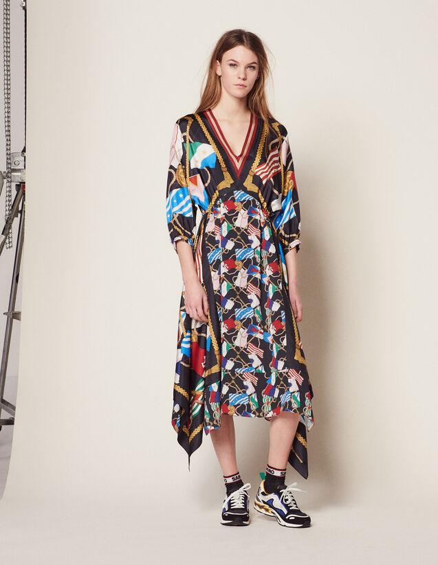 Long Printed Dress : Dresses color Black