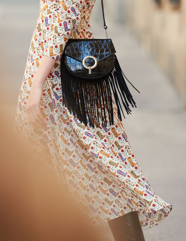 Fringed Pépita Bag, Small Model : New In color Black
