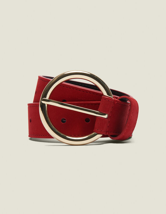 Leather Belt : Summer Collection color Rouge vif