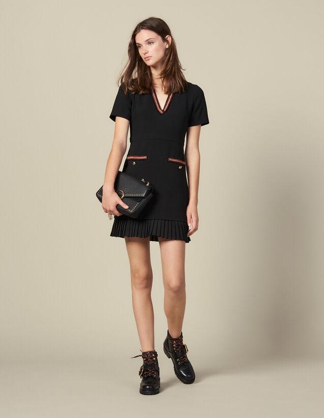 Robe courte ornée de galons : Robes couleur Noir