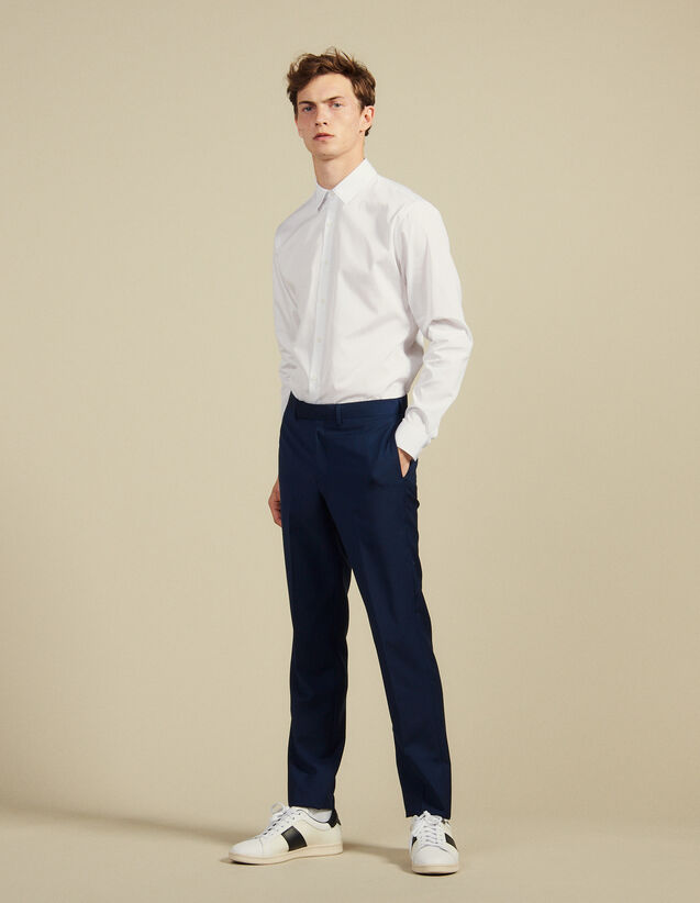 Mohair Wool Suit Trousers : Suits & Tuxedos color Blue