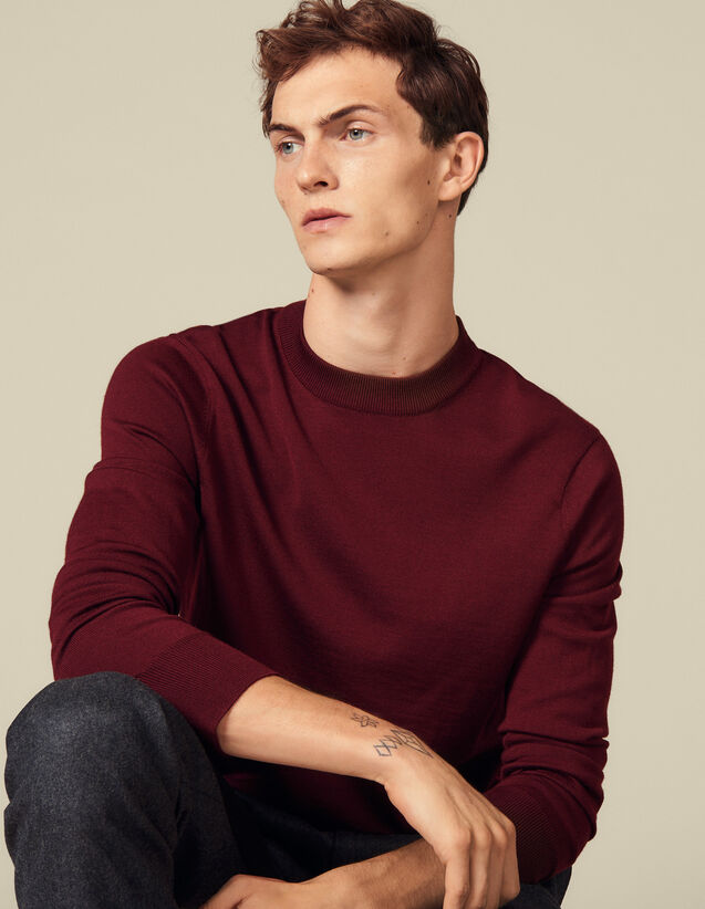 Fine knit wool sweater : Sweaters & Cardigans color Bordeaux
