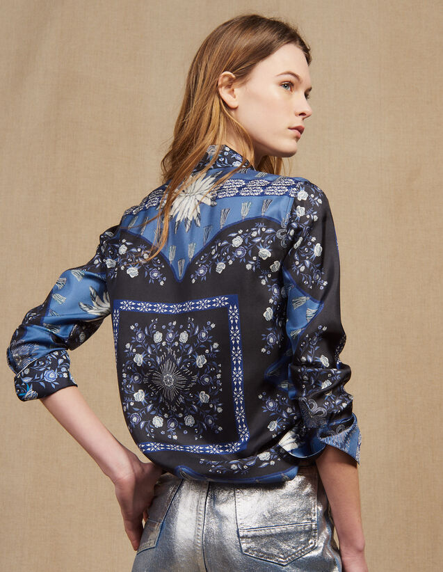 Floaty Printed Silk Shirt : Printed shirt color Blue
