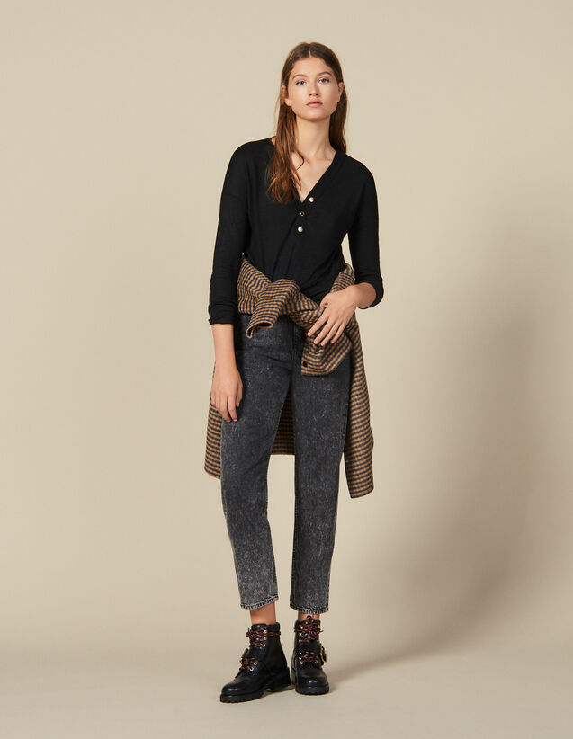 Long-Sleeved Linen T-Shirt : FBlackFriday-FR-FSelection-30 color Black