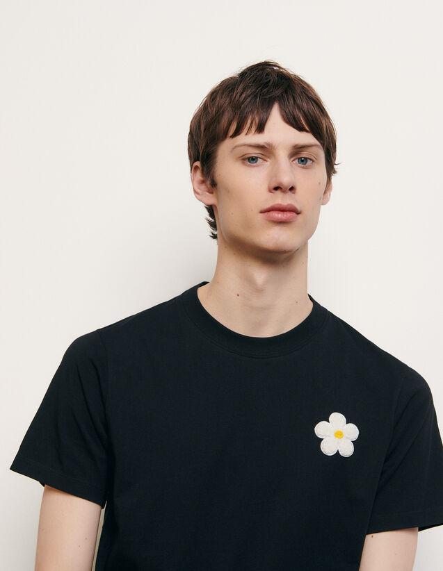 T-shirt en coton avec patch brodé : HCollection Ete couleur Noir