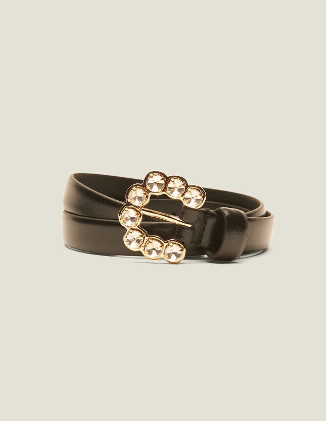 Belt With Rhinestone Buckle : Belts color Black