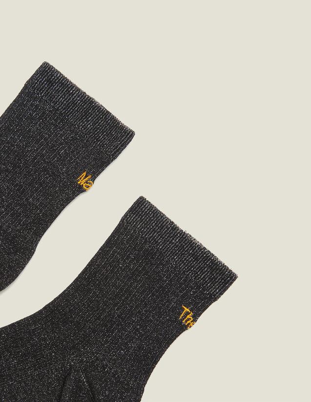Lurex Embroidered Socks : LastChance-FR-FSelection color Black