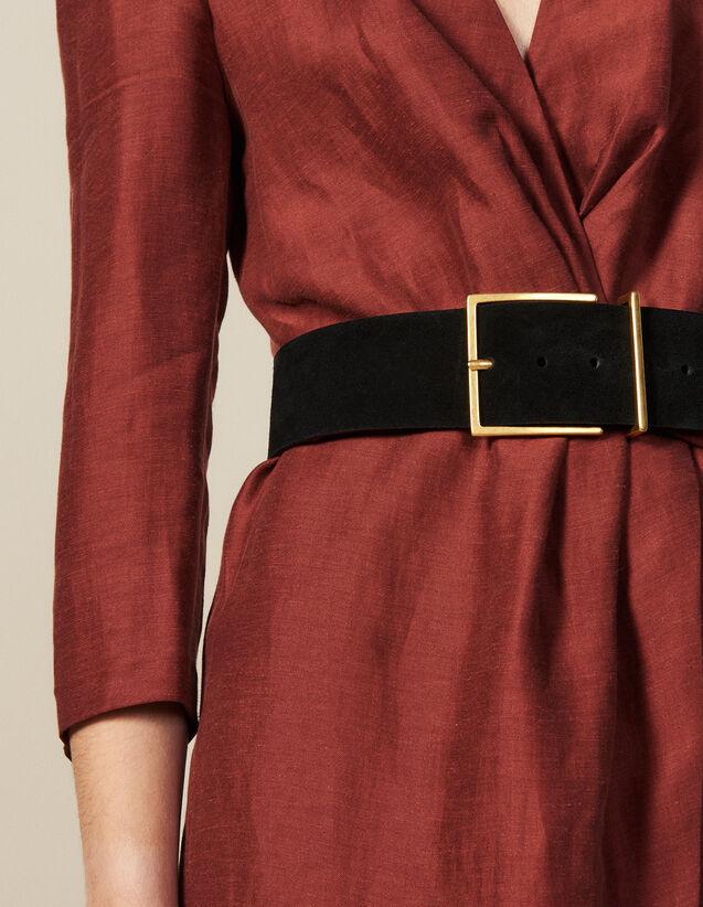 Wide Split Leather Belt : Belts color Black
