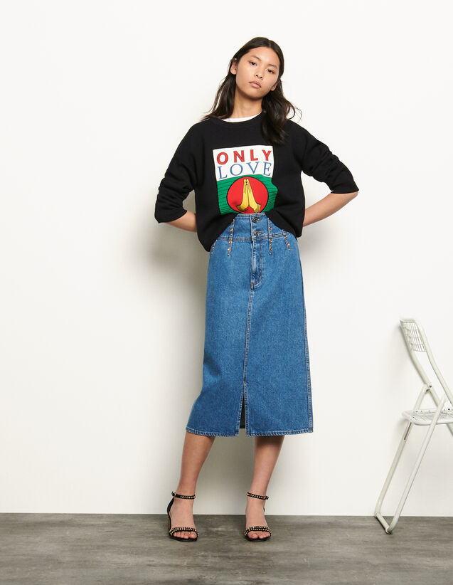 Long denim skirt : New Summer Collection color Blue Jean