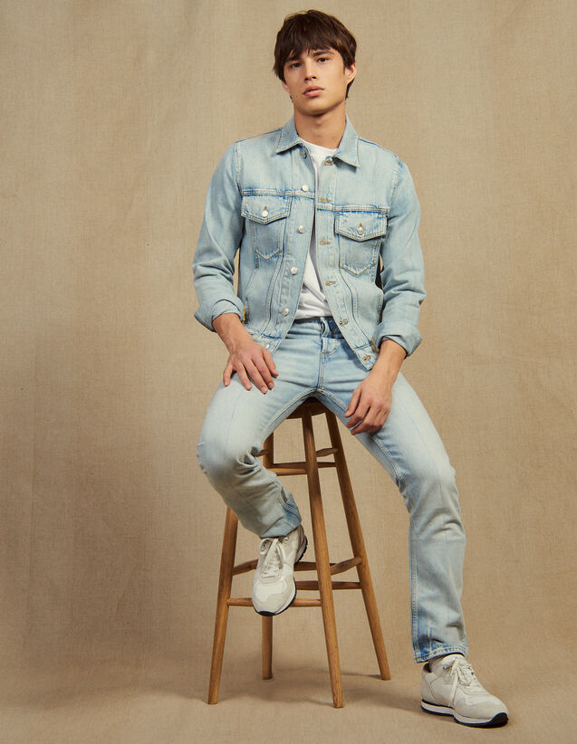 Light Washed Jeans - Narrow Cut : Jeans color Blue Vintage - Denim