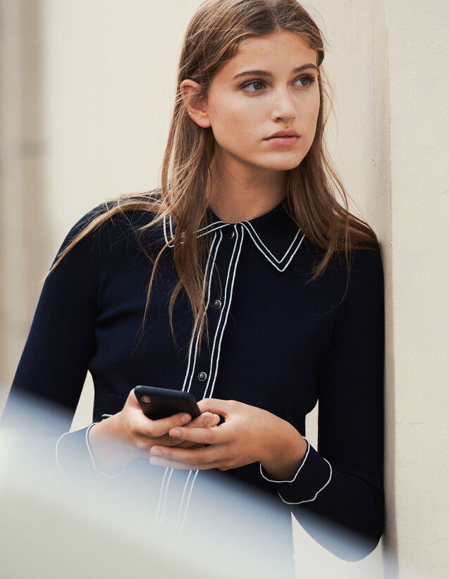 Cropped Shirt-Effect Cardigan : Sweaters & Cardigans color Navy Blue
