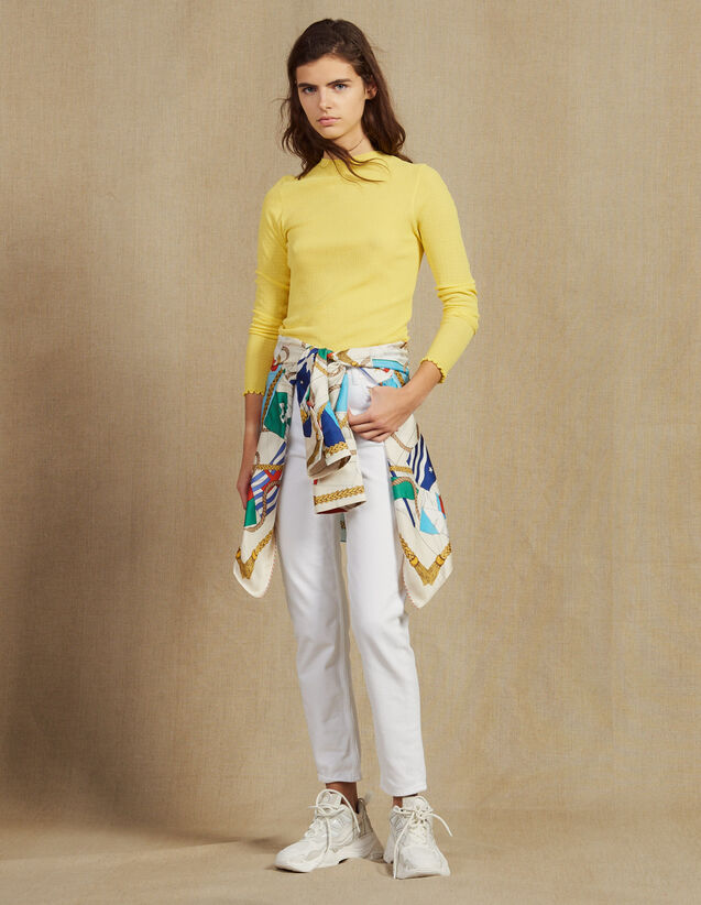 Fine Knit Sweater : Sweaters & Cardigans color Yellow