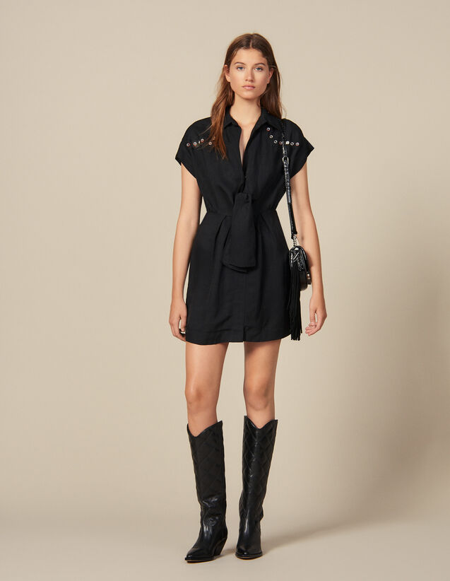 Shirt Dress Trimmed With Coloured Studs : New In color Black