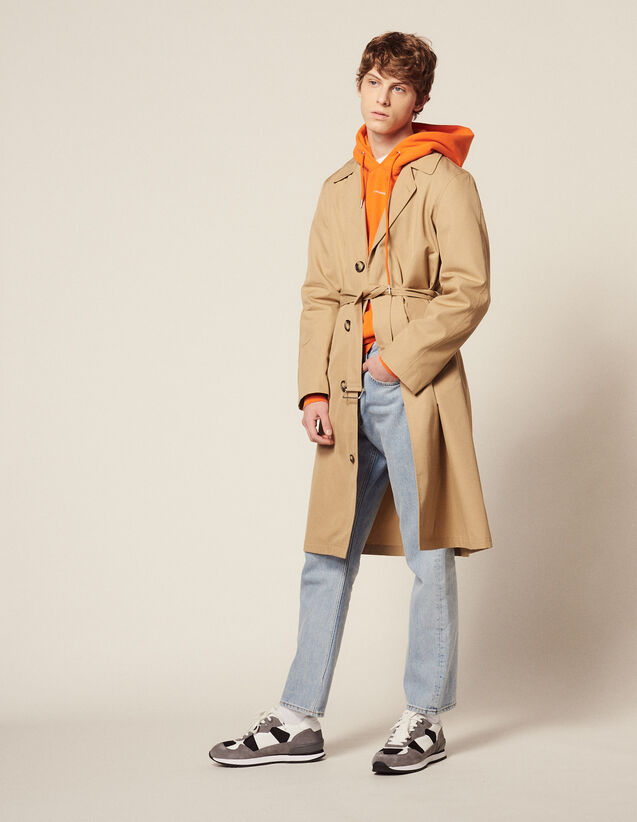 Long Cotton Trench Coat : Trench coats & Coats color Beige