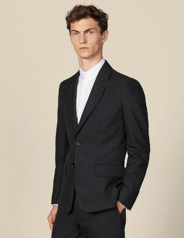 Three-Button Topstitched Suit Jacket : Suits & Tuxedos color Charcoal Grey