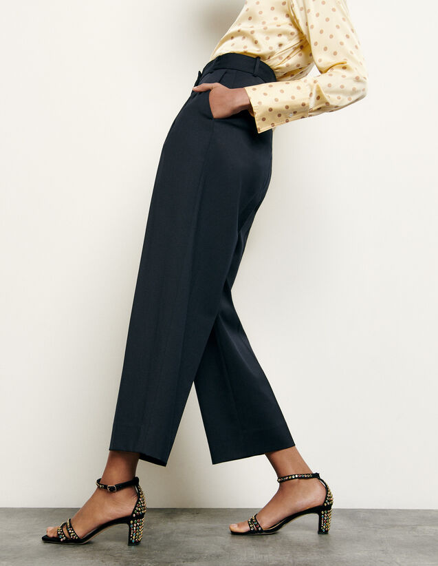 Pantalon de tailleur en laine : FNouvelle-Collection-Ete couleur Marine