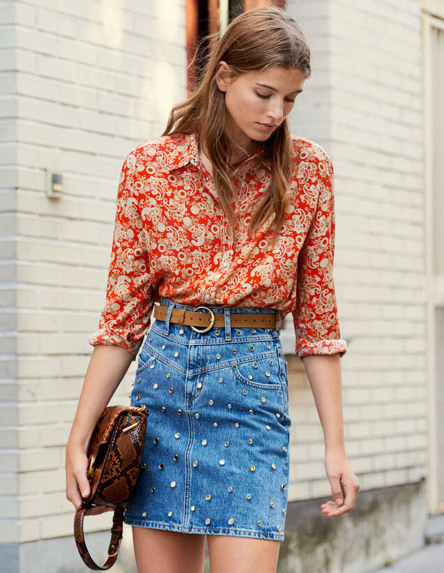 Printed Silk Shirt : New In color Red