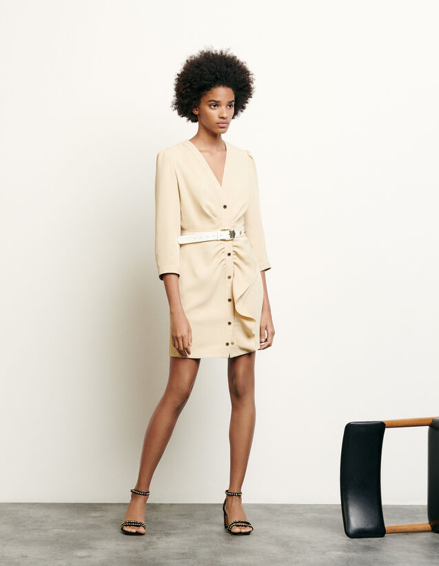 Short dress with peplum : New Summer Collection color Beige