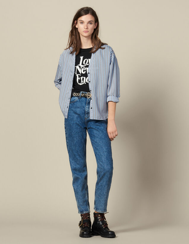 Striped Poplin Blouse : Tops & Shirts color Blue sky