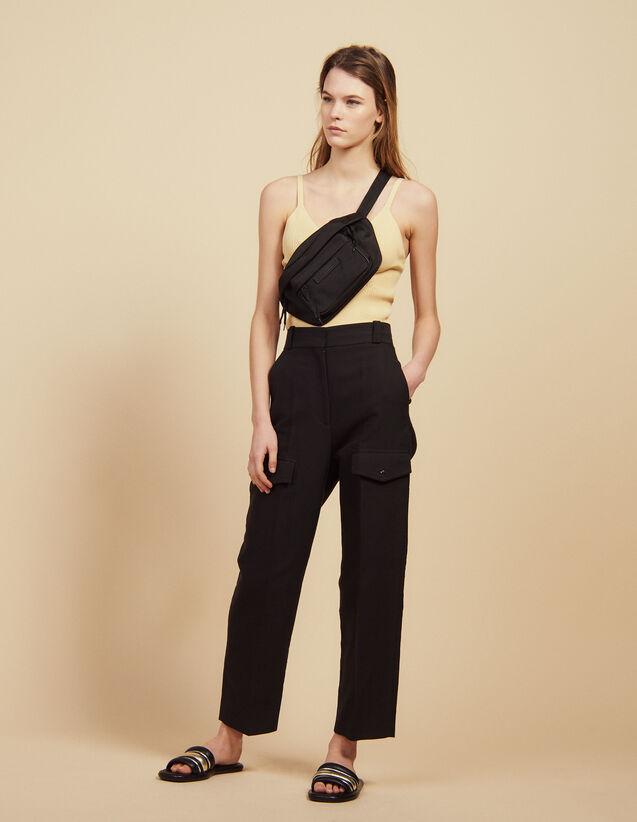 Cargo Trousers : Pants color Black
