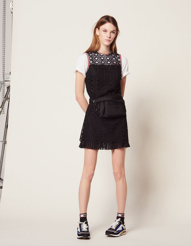 Sleeveless Guipure Dress : Dresses color Black