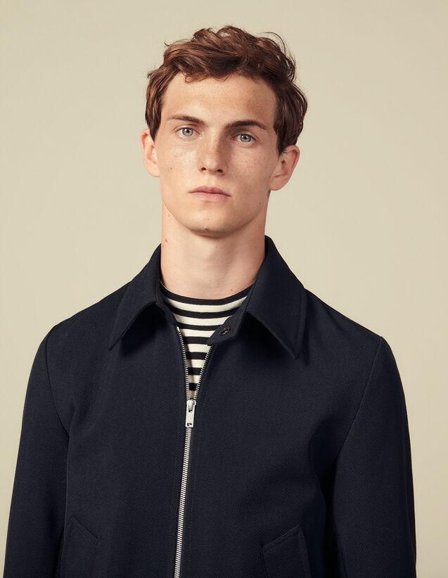 Zipped Jacket In Wool Serge : Blazers & Jackets color Navy Blue