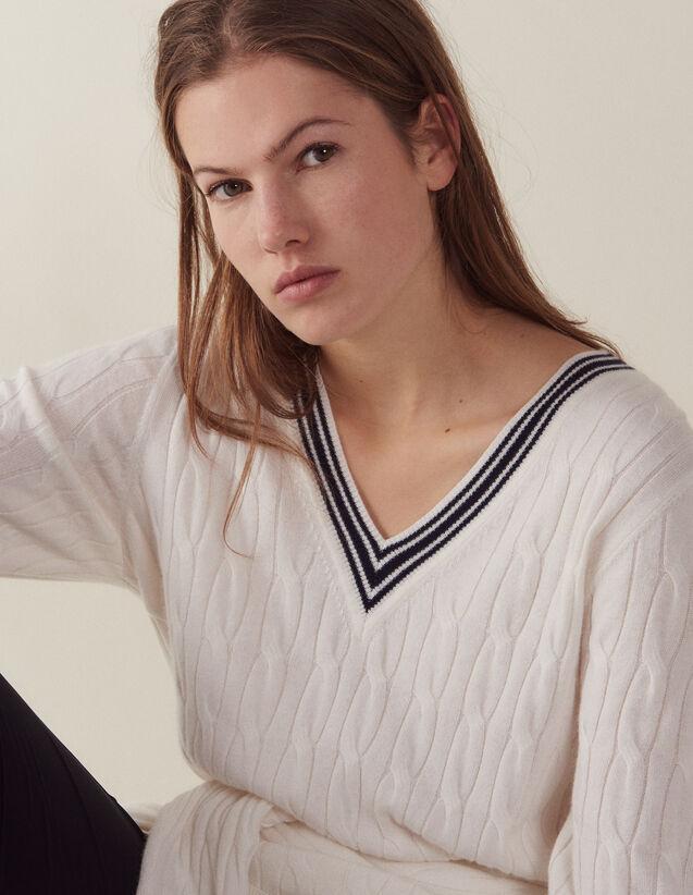 Cable Knit Sweater : LastChance-FR-FSelection color Ecru