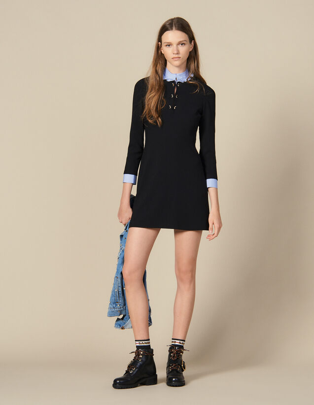 Straight-cut dress with ruffled collar : FBlackFriday-FR-FSelection-30 color Black