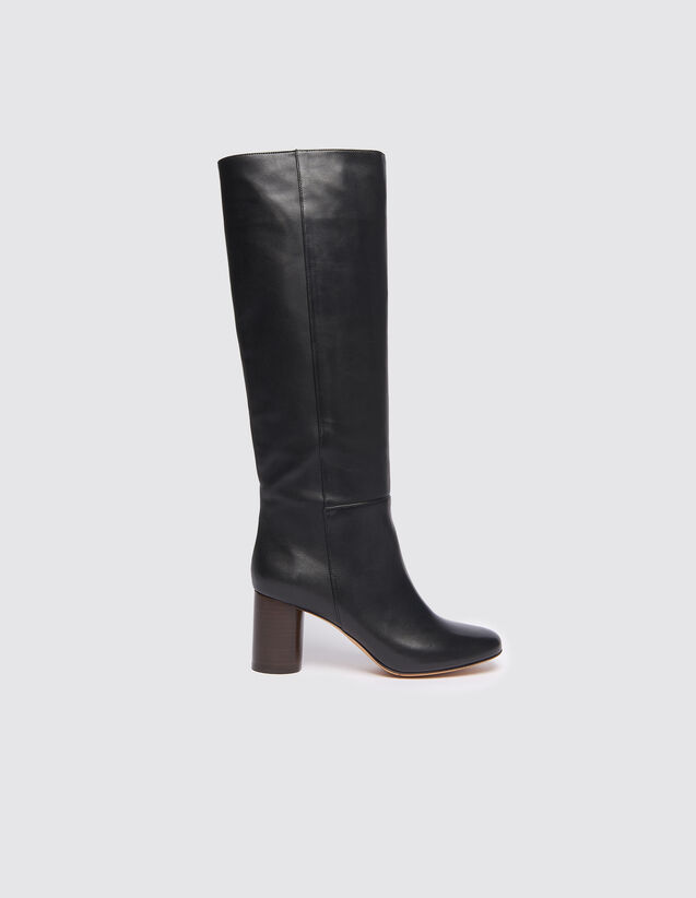 Round-Toe High Boots : All Shoes color Black