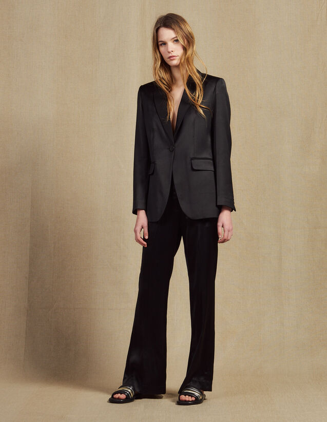 Trousers In Satin Fabric : Pants color Black