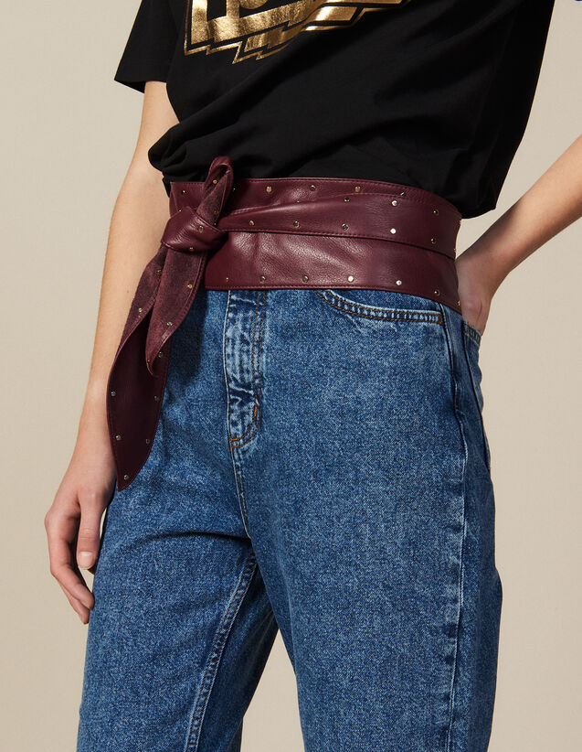 Smooth Leather Tie Belt : All Winter collection color Bordeaux
